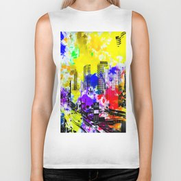 building of the hotel and casino at Las Vegas, USA with blue yellow red green purple painting abstra Biker Tank