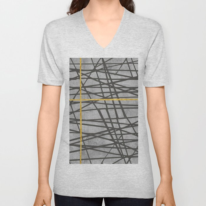 Black abstract black and gold lines on concrete - Mix & Match with Simplicty of life Unisex V-Neck
