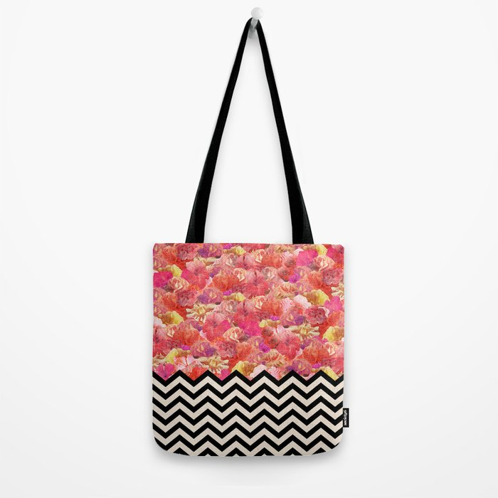 Chevron Flora Tote Bag