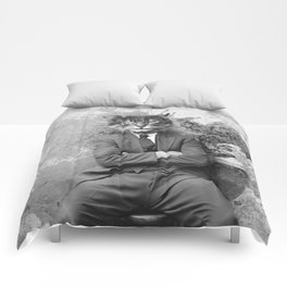 Vintage Black and White Gangster Cat Comforters
