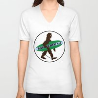sasquatch V-neck T-shirts featuring Sasquatch Squatchin' Surfing Bigfoot by mailboxdisco
