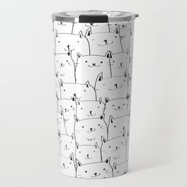 Cats in Black and white pattern Travel Mug