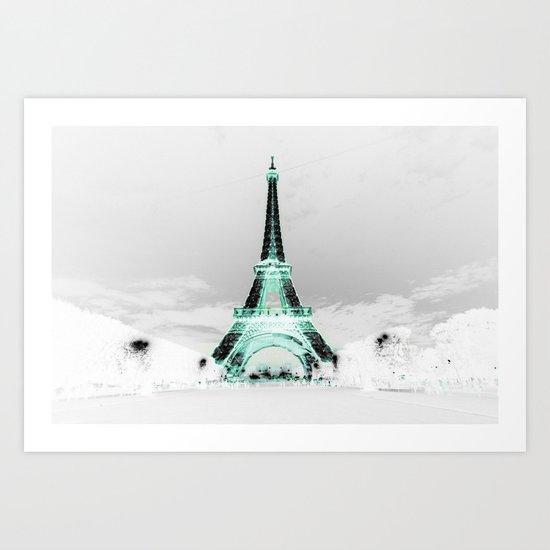pariS Black & White + Mint Art Print