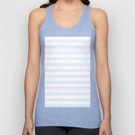 Narrow Horizontal Stripes - White and Pastel Blue Unisex Tank Top
