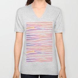 Irregular watercolor lines - pastel pink and ultraviolet Unisex V-Neck