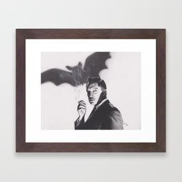 Original Charcoal Drawing of Vincent Price in The Bat Framed Art Print