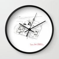 architect Wall Clocks featuring Le Corbusier The Architect by Rothko