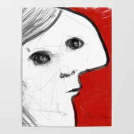 REVERIE : 002 ~ iPad Sketchbook Drawing, Abstract Face Poster