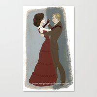 downton abbey Canvas Prints featuring Downton Abbey- Mary & Matthew by Bark Point Studio