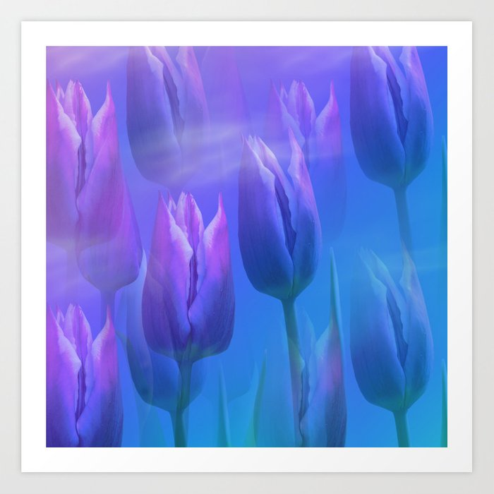 Dreamy tulips Art Print