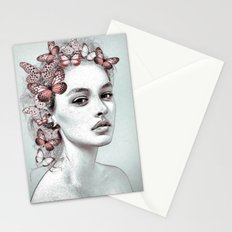 Woman with butterflies Stationery Cards