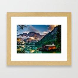 Pragser Wildsee or Lake Prags Italy Framed Art Print