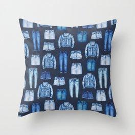 Denim Skirts, Jeans, Cutoff Shorts & Jean Jackets Throw Pillow