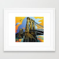 brooklyn bridge Framed Art Prints featuring Brooklyn Bridge by David Chestnutt