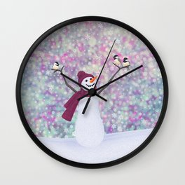 snowman and chickadees Wall Clock