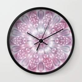 Dreams Mandala in Pink, Grey, Purple and White Wall Clock