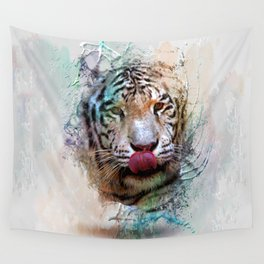 White Tiger in Water Color Splash Wall Tapestry