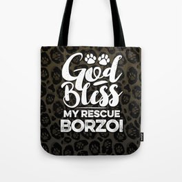 God Bless My Rescue Borzoi Leopard Print Dog Paw Pattern Gift Tote Bag
