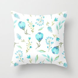 Blue watercolor flowers Throw Pillow