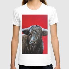 brave bull on red T-shirt
