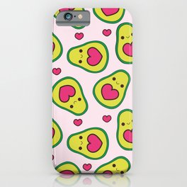 patron kawaii de aguacates y corazones rosas  iPhone Case