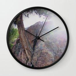 Juniper Tree Grows from a Rock Wall Clock