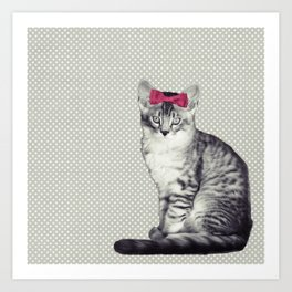 Cat with a Bow Art Print