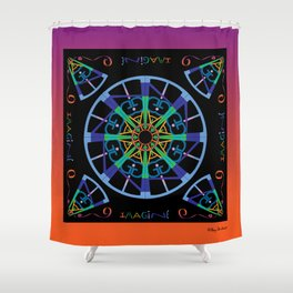 Imagine from the Inside - Black/Orange Pink Shower Curtain
