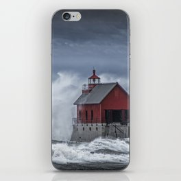 Grand Haven Lighthouse in a November Storm on Lake Michigan iPhone Skin