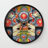 coasters Wall Clocks featuring Urban Chestnut Collage by Jen Gotsch