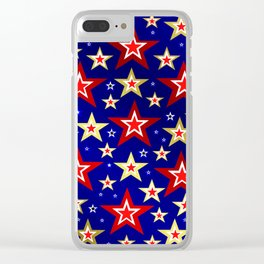 christmas pattern red star, gold stars,blue shiny background Clear iPhone Case
