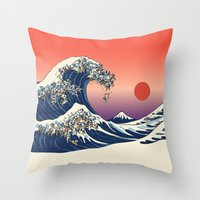 pug Throw Pillows featuring The Great Wave of Pug   by Huebucket