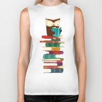 reading Biker Tanks featuring Owl Reading Rainbow by Picomodi