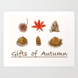 Gift of autumn watercolor painting Art Print