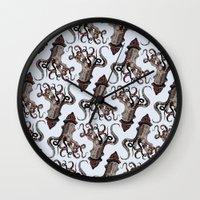 surrealism Wall Clocks featuring Street ∫ Animal Surrealism by Alejo Malia