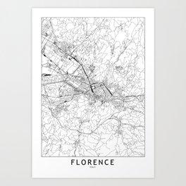 Florence White Map Art Print