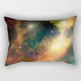Teal orange gold universe galaxy nebula Rectangular Pillow