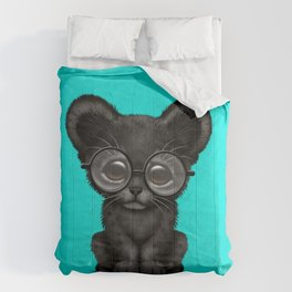 Cute Baby Black Panther Cub Wearing Glasses on Blue Comforters