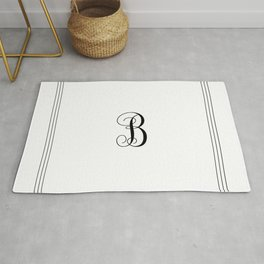Monogram Letter B in Black with Triple Border Rug