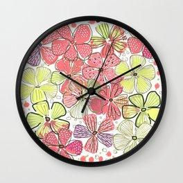 Pink Hibiscus Wall Clock