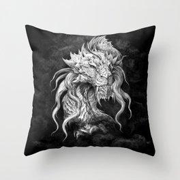 Dark Side Japanese Dragon portrait on black background | Graphit Throw Pillow