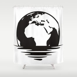 Earth Floating Shower Curtain