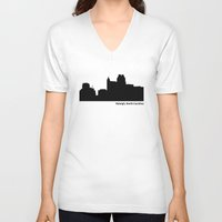 north carolina V-neck T-shirts featuring Ralleigh, North Carolina by Fabian Bross