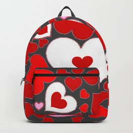 RED HEARTS ON WHITE HEARTS GREY Backpack