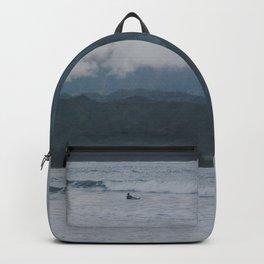 Lone Surfer - Hanalei Bay - Kauai, Hawaii Backpack
