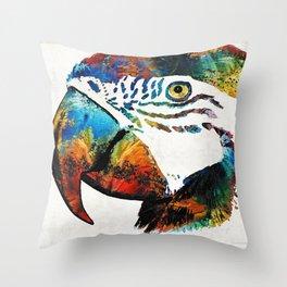 Parrot Head Art By Sharon Cummings Throw Pillow