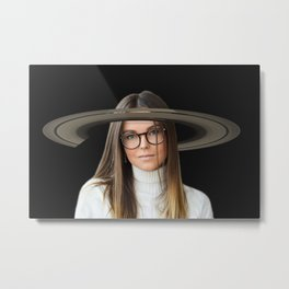 She Hung The Rings On Saturn Metal Print