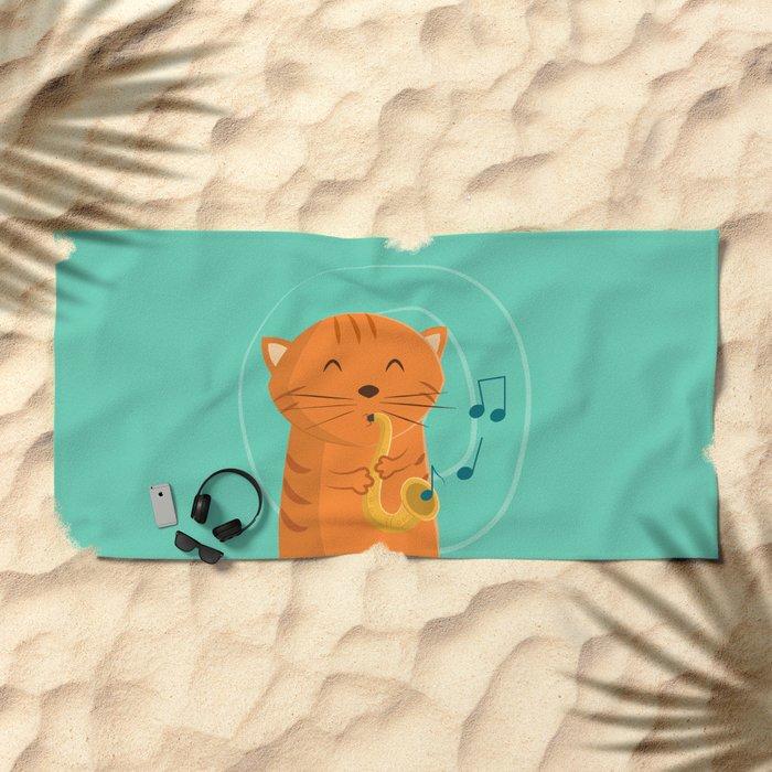 Jazz Cat Beach Towel