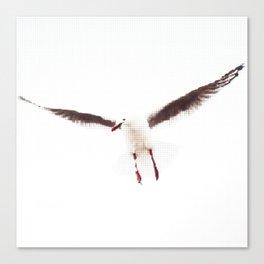 White Seagull Halftone Design Canvas Print