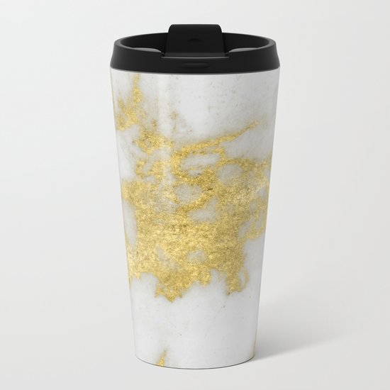 Marble - Yellow Gold Marble Foil on White Pattern Metal Travel Mug